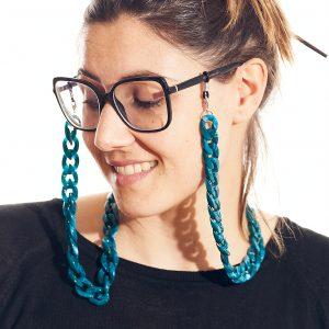 cadena gafa y mascarilla azul agua
